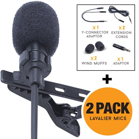 Lavalier Lapel Microphone 2-Pack Complete Set - Omnidirectional Mic for Desktop PC Computer, Mac, Smartphone, iPhone, GoPro, DSLR, Camcorder for Podcast, Youtube, Vlogging, and