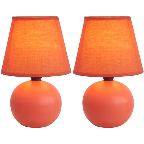 Simple Designs Mini Ceramic Globe Table Lamp 2-Pack Set
