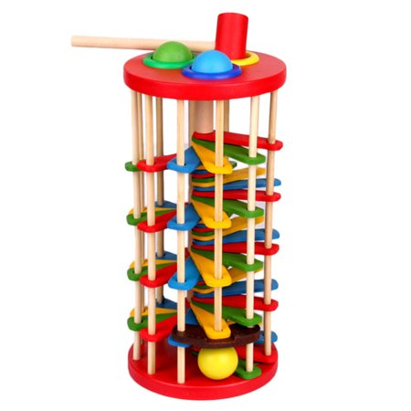 Knock The Ball Falls Ladder Children Toys Wooden Fancy Table Rolling Ball Ladder