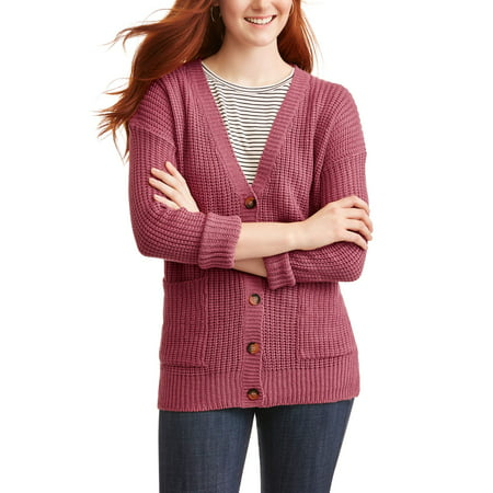 Derek Heart Juniors' Long Sleeve V-Neck Button Down Cardigan