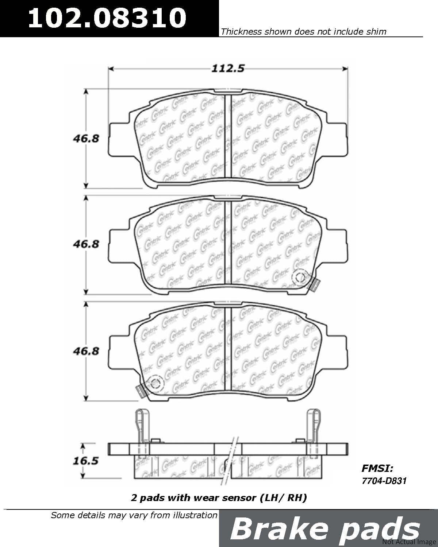 Centric Parts 102.03510 102 Series Semi Metallic Standard Brake Pad