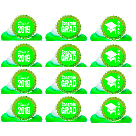 Class of 2019 Graduation Green Easy Toppers Cupcake Decoration Rings -24pk
