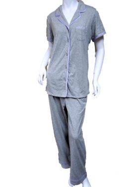 3b66422ce5 Product Image Laura Scott Women Gray Satin Trim Pajamas Lightweight Short  Sleeve Pajama Set