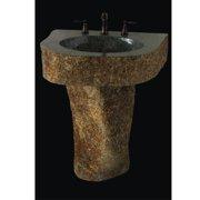 Quiescence Earthen Fantasy Mountainous Boulder 36'' Pedestal Bathroom Sink