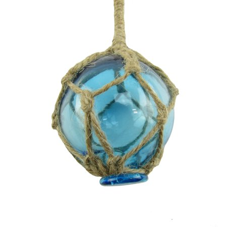 Nautical Rope Fishing Buoy Light Blue Glass Float Fish Net Ball Tiki/Luau - Do Fish Have Balls