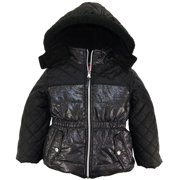 Pink Platinum Little Girls' Quilted with Spray Print Puffer Winter Jacket