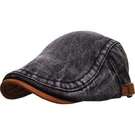 Denim Gatsby Cap Mens Denim Hat Golf Driving Summer Cabbie Newsboy - Novelty Golf Hats
