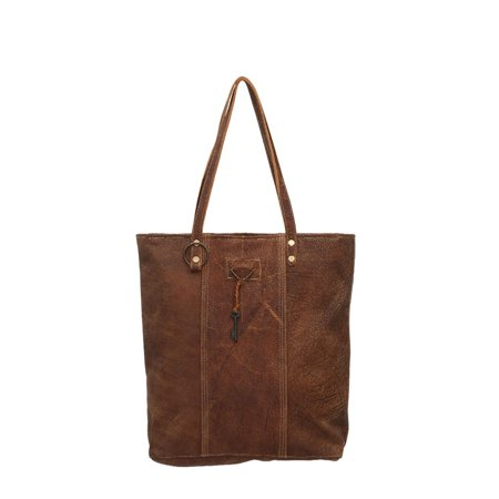 Antique Brown Leather (Antique Key and Ring Brown Genuine Leather Tote Bag)