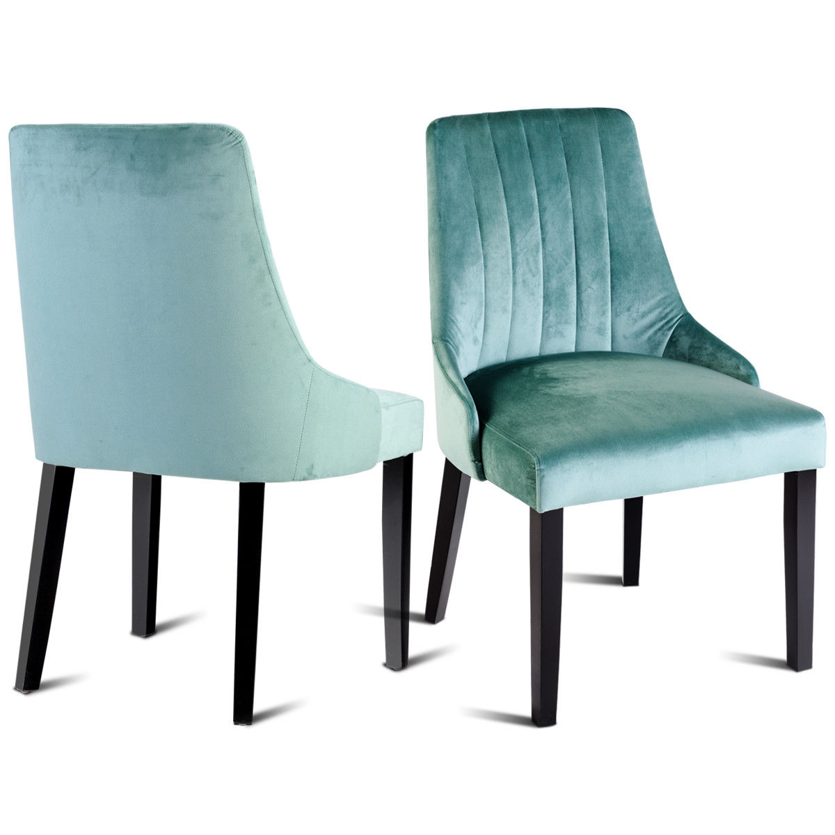 Gymax Set of 2 Dining Chair Leisure Padded Accent Chair with Solid Wood Legs Green
