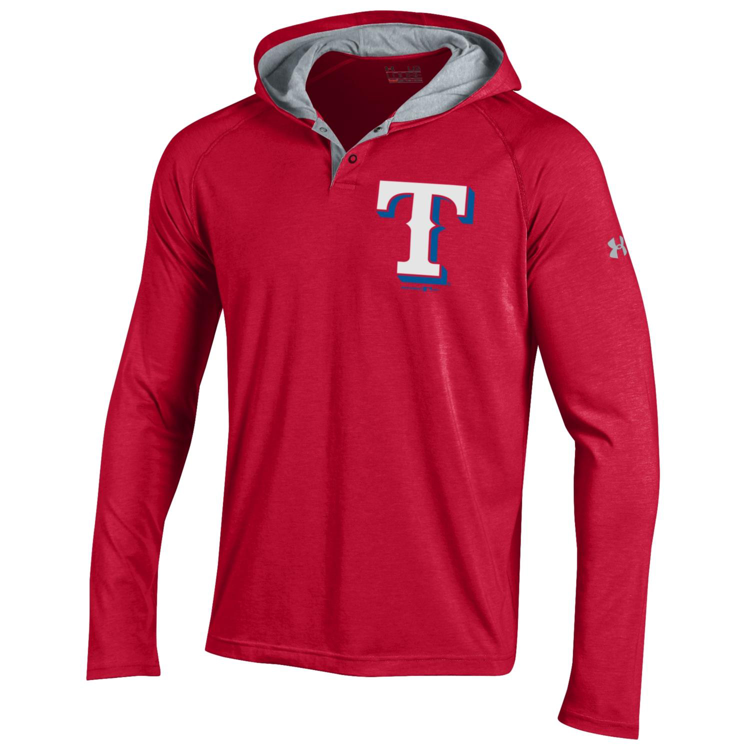 Texas Rangers Under Armour Charged Henley Pullover Hoodie - Red