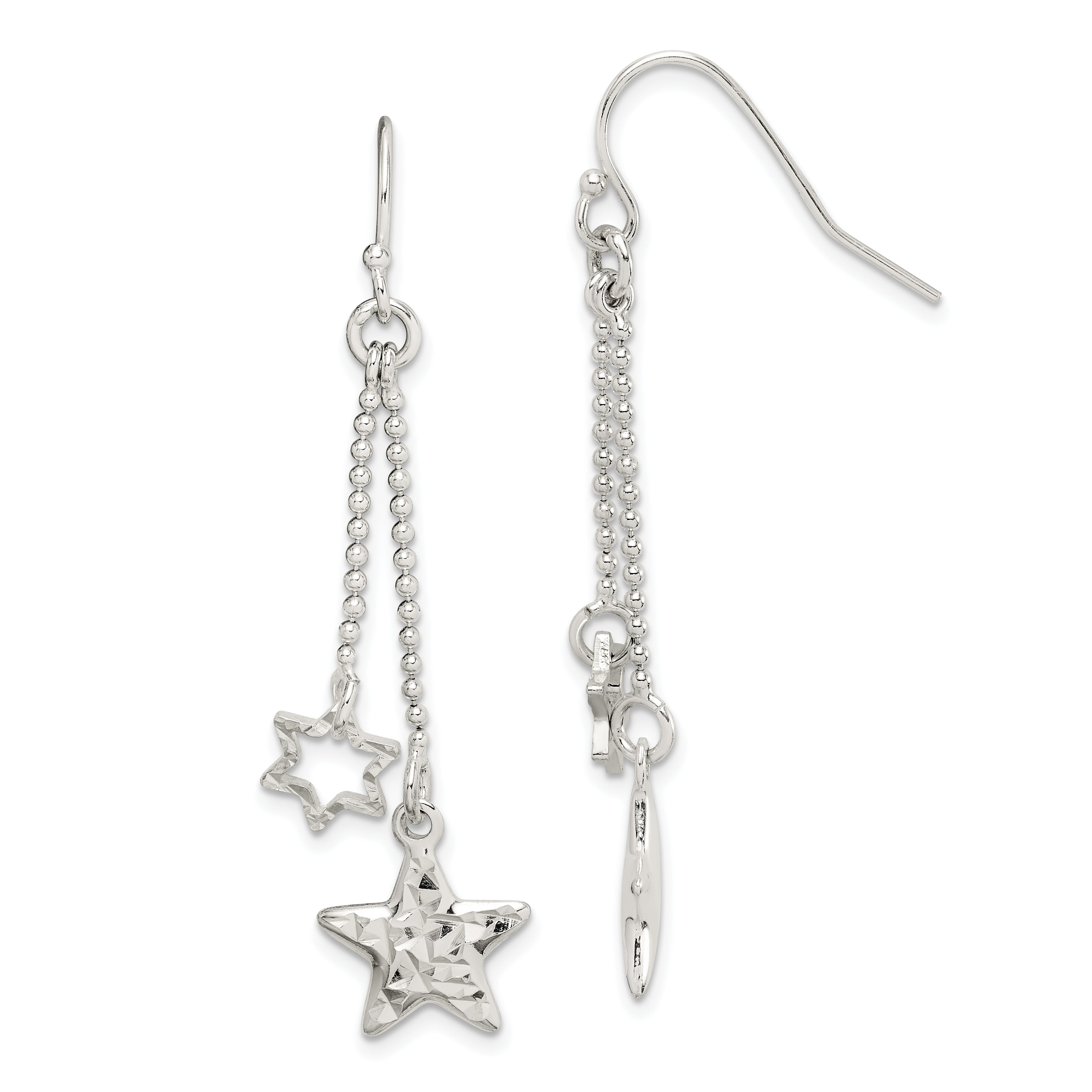 Lady Girls Adorable Solid 925 Sterling Silver Stamped Dangle Stars Wrap Ring