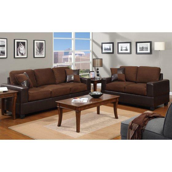 good looking microfiber living room set. 2 Piece Modern Microfiber and Faux Leather Sofa  Love Seat Livingroom Set