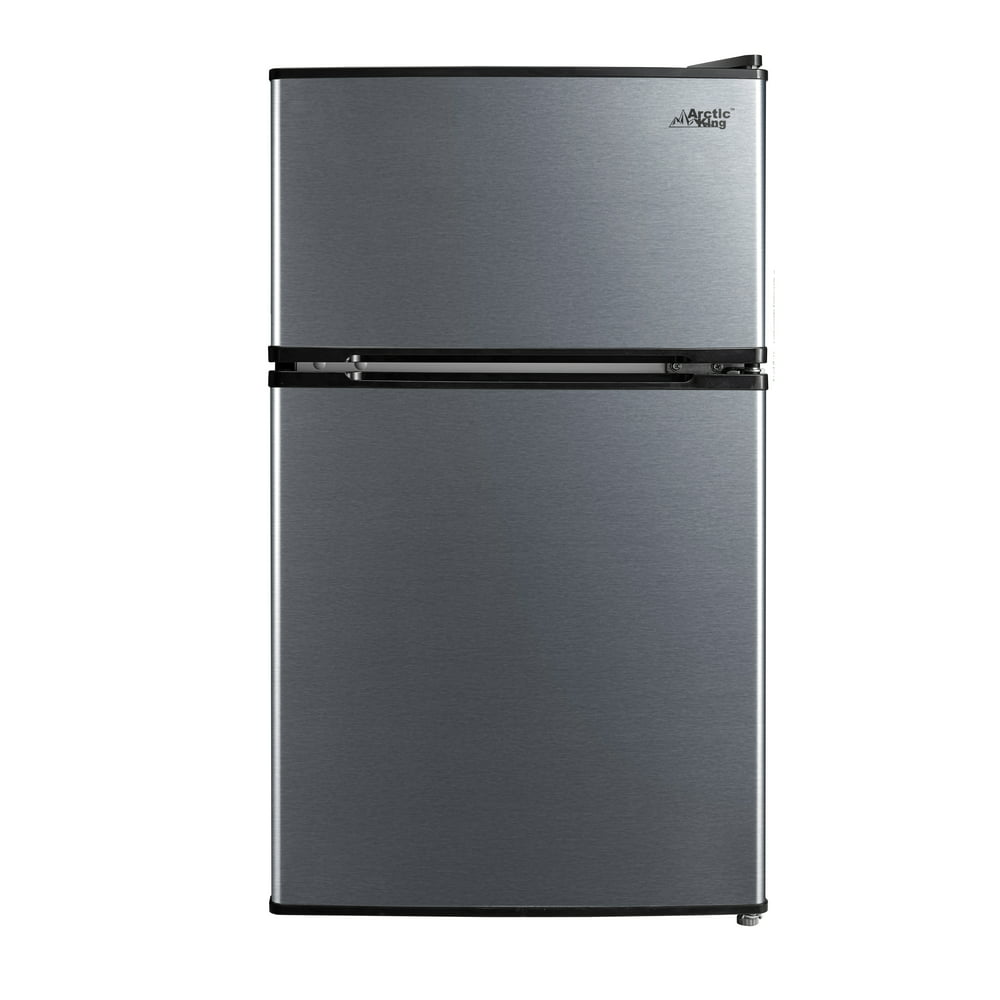 Arctic King 3.2 Cu ft Two Door Compact Refrigerator with Freezer, Stainless Steel