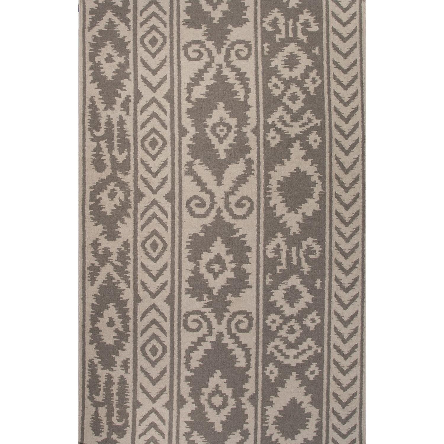 8' x 10' Taupe and Beige Tribal Farid Flat Weave Hand Woven Reversible Wool Area Throw Rug