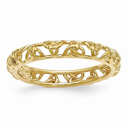 - Gold Tone Plated Sterling Silver Stackable 3.5mm Celtic Knot Band