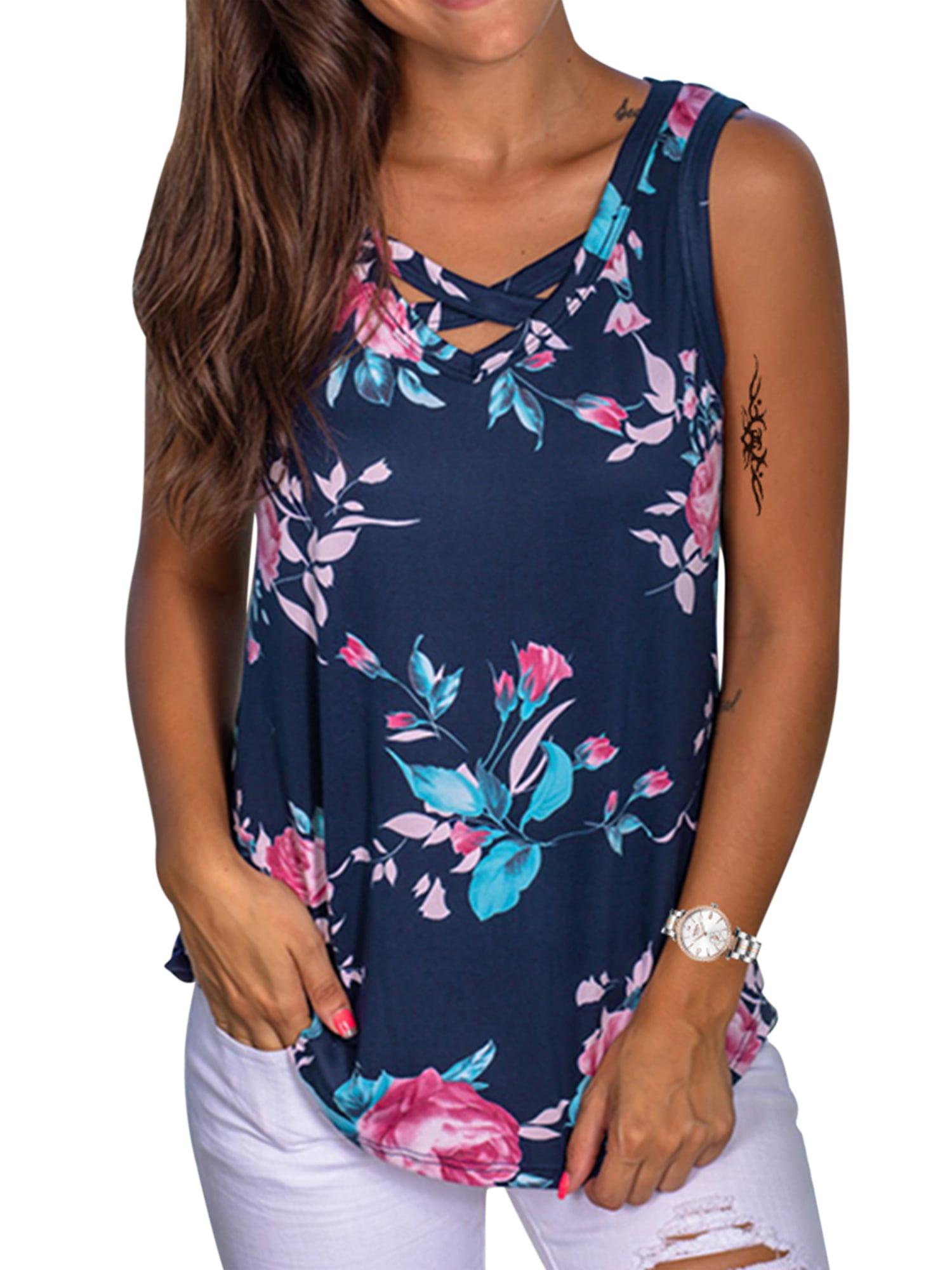 Transer Womens Tank Tops Zipper V-Neck T-Shirt Summer Sleeveless Vest Cross Back Tee Casual Blouses
