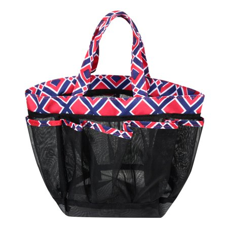 Zodaca Lightweight Mesh Shower Caddie Bag Quick Dry 7 Pocket Toiletry Bath Organizer Carry Tote Bag for Gym Camping Crafting - Blue Quatrefoil - image 4 de 4