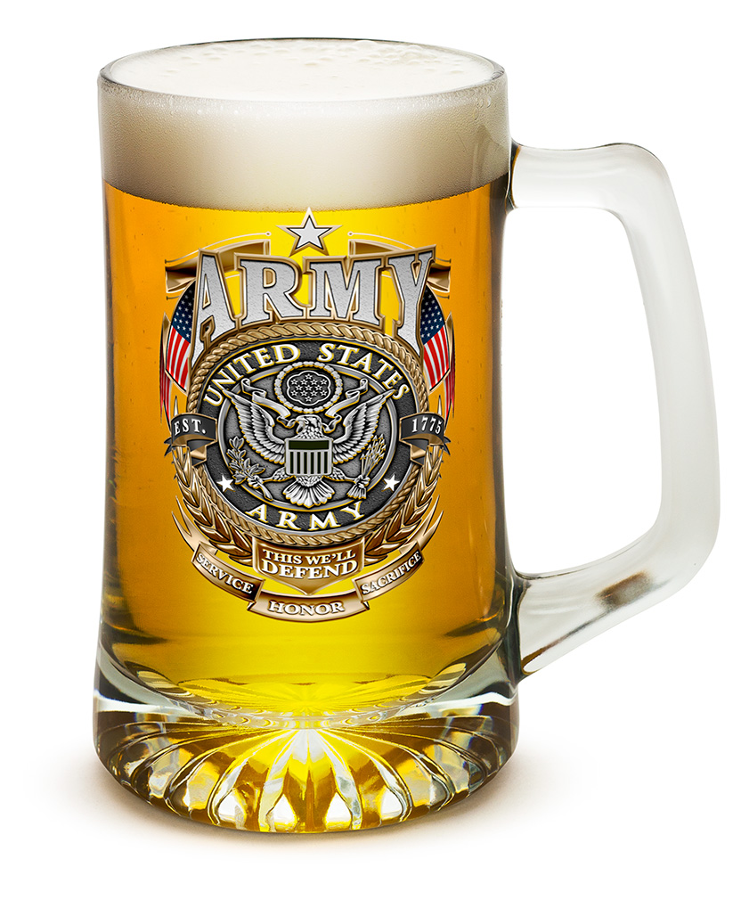 Beer Mugs with Handles � Army Gold Shield 25 oz Tankard Beer Mug � Armed Forces Gifts for... by
