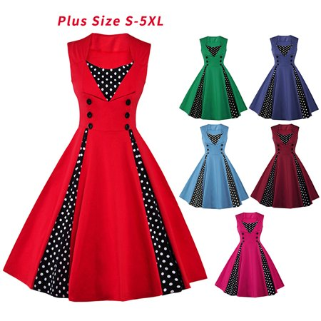 Vintage Swing Dresses for Women Retro Rockabilly 50s 60s Polka Dot Pinup  Sleeveless Evening Party Plus Size Dress S-5XL