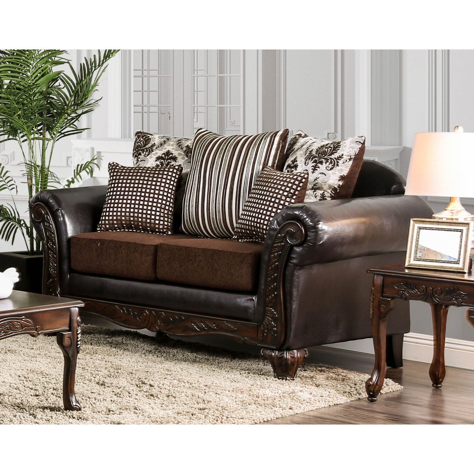 Furniture of America Verdugo Traditional Wood Carved Leatherette Loveseat