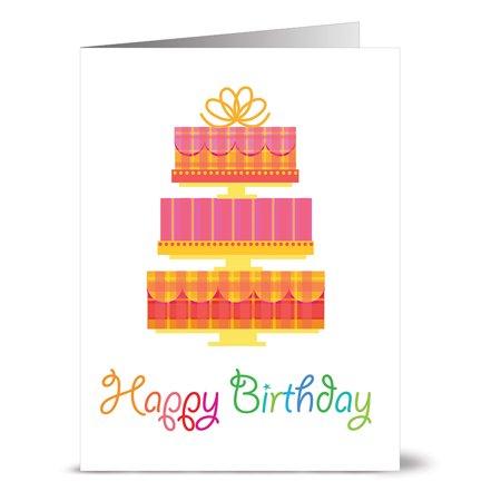24 Happy Birthday Note Cards Happy Birthday Tiered Cake Blank