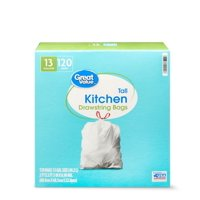 Great Value Tall Kitchen Drawstring Trash Bags, 13 Gallon, 120 Count