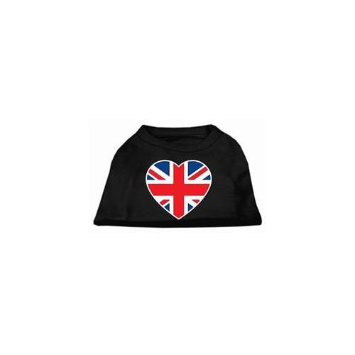 Image of Mirage 51-137 XXXLBK British Flag Heart Screen Print Dog Shirt Black 3XL