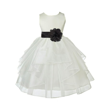 Ekidsbridal Formal Satin Shimmering Organza Ivory Flower Girl Dress Bridesmaid Wedding Pageant Toddler Recital Easter Communion Graduation Reception Ceremony Birthday Baptism Occasions