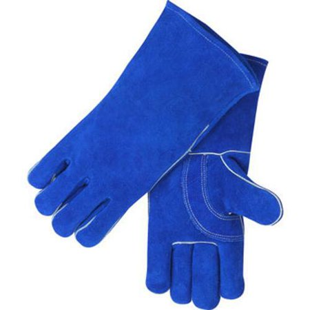 Black Stallion 113 Blue Value Split Cowhide Stick Welding Gloves, Large