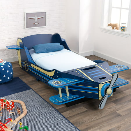 KidKraft Wooden Airplane Toddler Storage Bed, Blue, With Bed - Toddler Stores