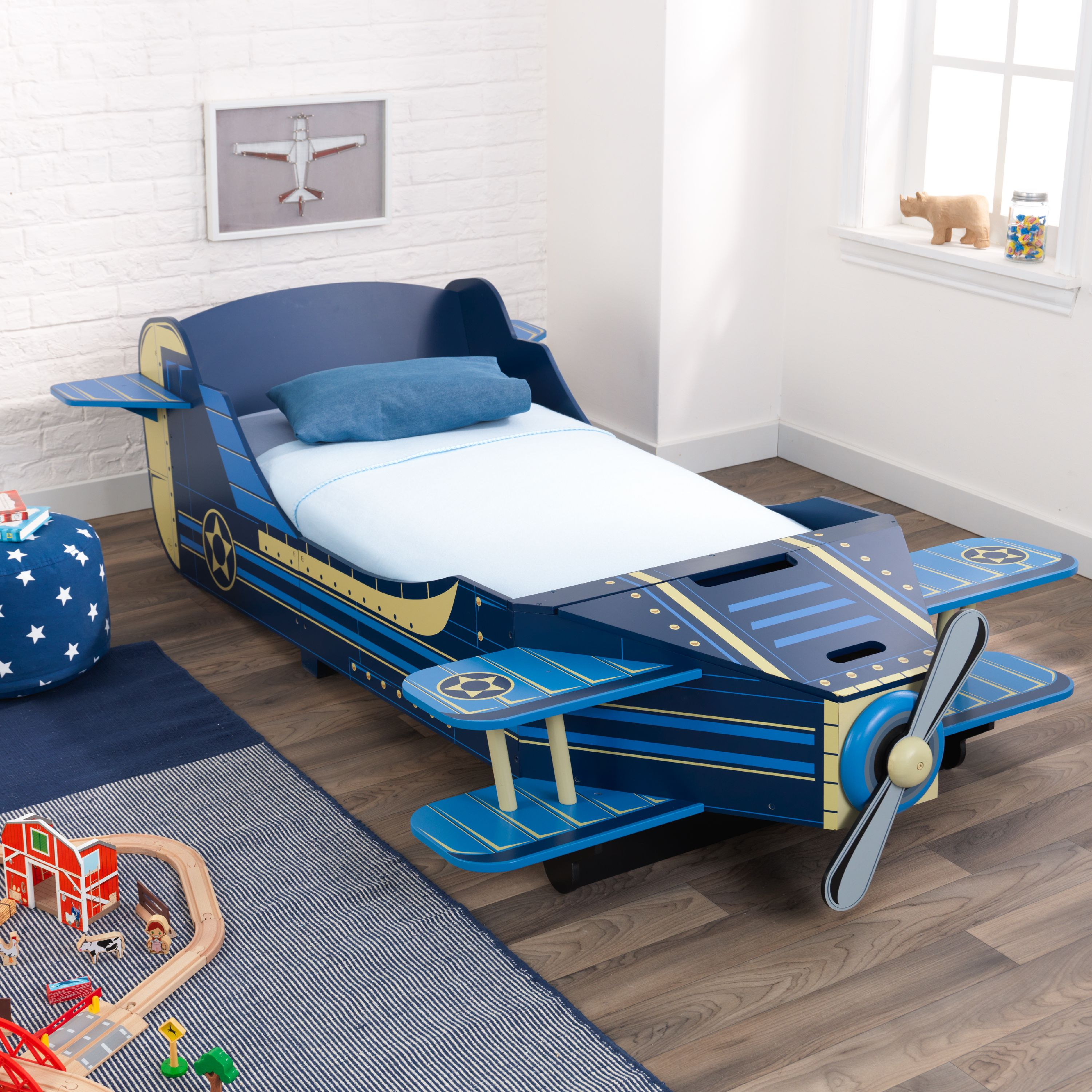 KidKraft Wooden Airplane Toddler Storage Bed, Blue, With Bed Rails