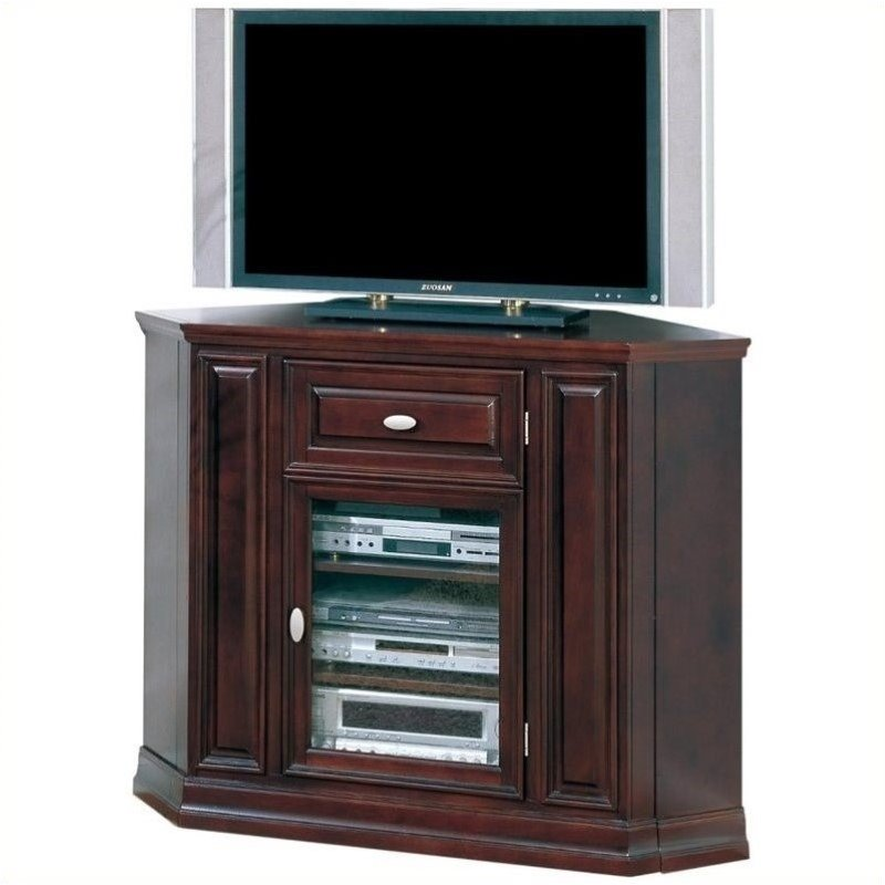 "Bowery Hill Tall 46"" Corner TV Stand in Espresso"