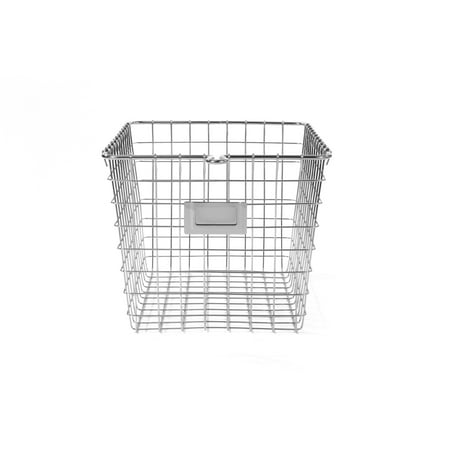Spectrum Diversified Wire Storage Basket, Vintage Locker Basket Style, Rustic Farmhouse Chic, Steel Storage for Closets, Pantry, Kitchen, Garage, Bathroom & More, Small, Chrome Steel Wire Basket