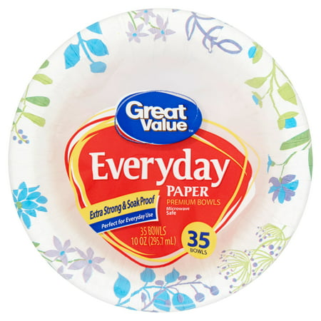 Great Value Everyday Paper Premium Bowls 10 Oz 35 Count