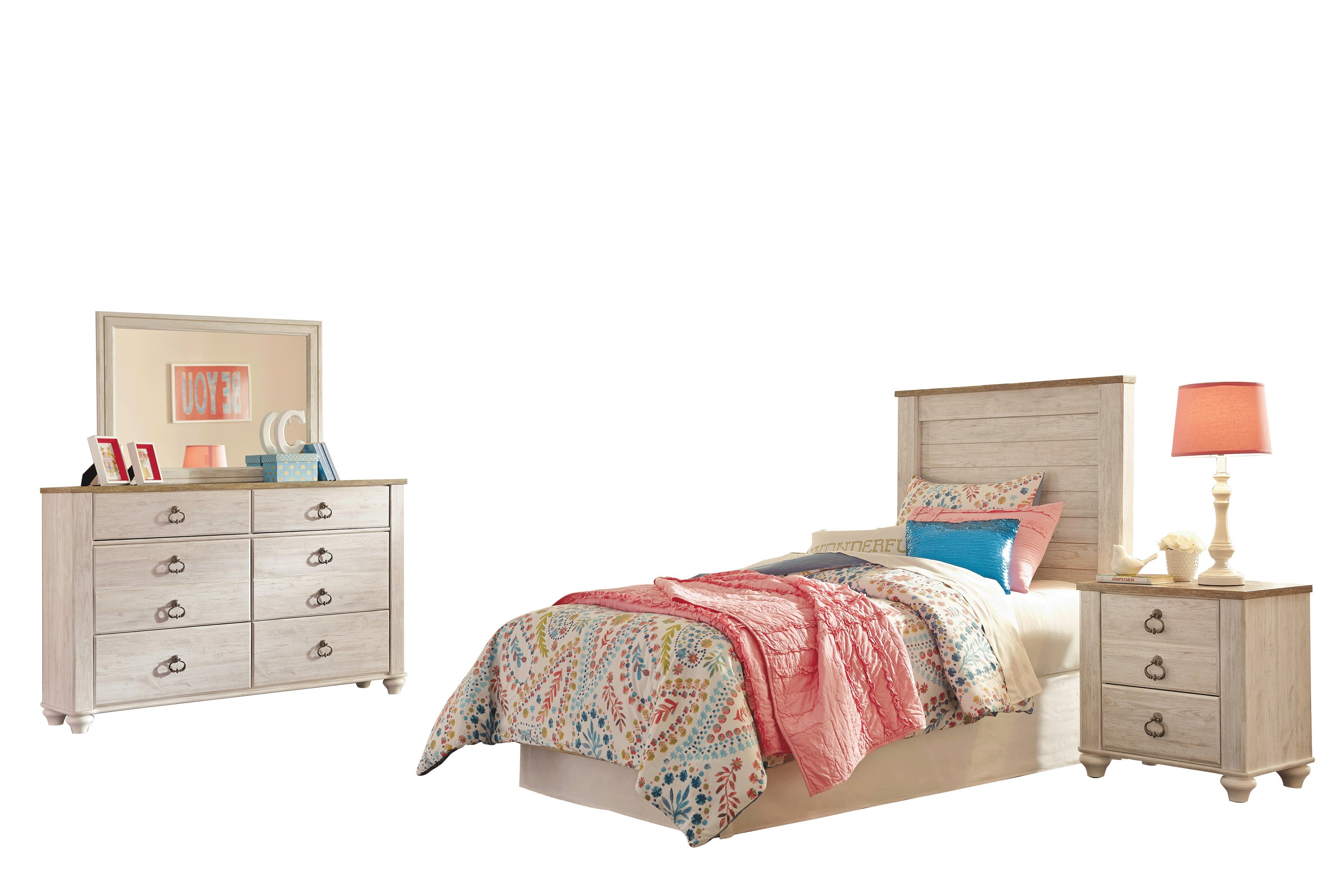 Ashley Furniture Willowton 4 Pc Full Panel Headboard Bedroom Set White Walmart Com Walmart Com