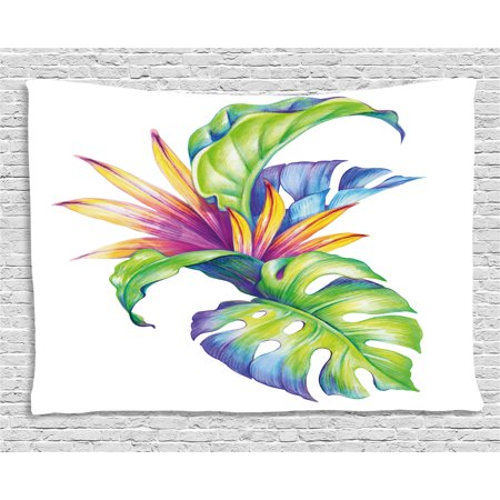 Plant Tapestry, Tropical Leaves and Monstera with Abstract Color Scheme Hawaiian Floral Elements, Wall Hanging for Bedroom Living Room Dorm Decor, 60W X 40L Inches, Multicolor, by Ambesonne