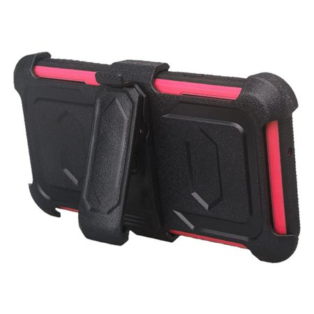 LG Stylo 4 Case, Rugged Series with Built-in [Screen Protector] Heavy Duty Full-Body Rugged Holster Armor Case [Belt Swivel Clip][Kickstand] (Hot Pink) - image 3 de 6