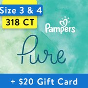 [Save $20] Size 3 & Size 4 Pampers Pure Protection Diapers, 318 Total Diapers