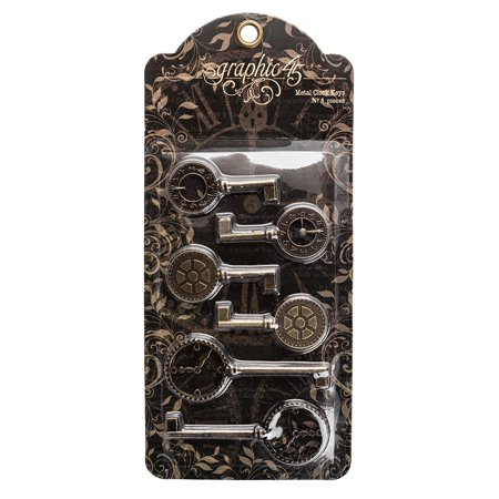 4501293 Metal Clock Keys, Each package contains six metal clock keys; two each of three Designs. In an antique brass finish By Graphic