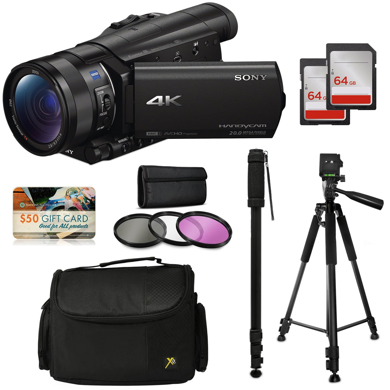Sony FDR-AX100 4K Ultra HD Camcorder Video Camera Kit, 128GB Memory + Tripod + Monopod + Bag + UV CPL FLD... by 47th Street Photo