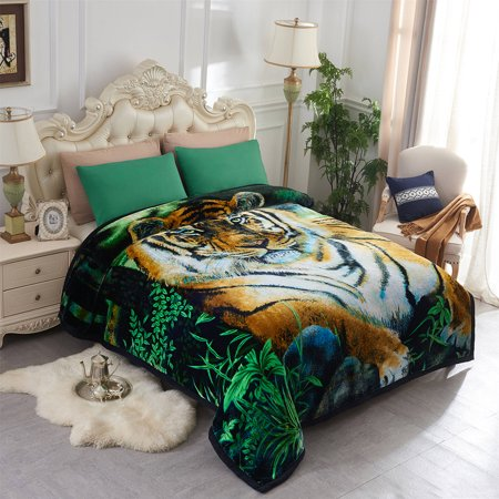 Tiger Printed Cozy Plush Fleece Blanket For Bed 2 Ply Heavy Thick Super Warm Winter King 85 X 95 9lb