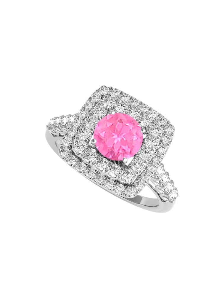 September Birthstone Pink Sapphire Cubic Zirconia Engagement Ring by Love Bright