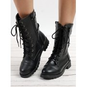 ef8ae1490c Ladies Womens Combat Army Military Worker Lace Up Flat Biker Zip Ankle Boots  Image 3 of