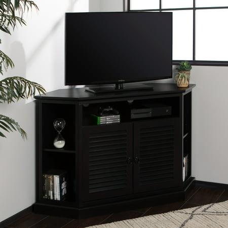 Newport Louvered Door Corner TV Stand by Birch Harbor - Black