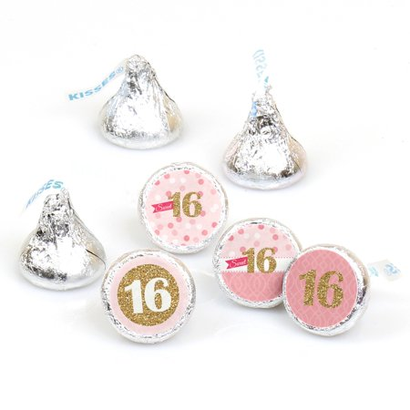 Sweet 16 - Party Round Candy Sticker Favors Labels Fit Hershey's Kisses (1 sheet of 108)