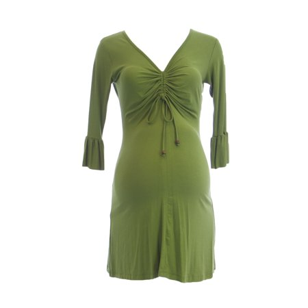 OLIAN Maternity Women's Ruched Front Accent Mini Dress X-Small Green
