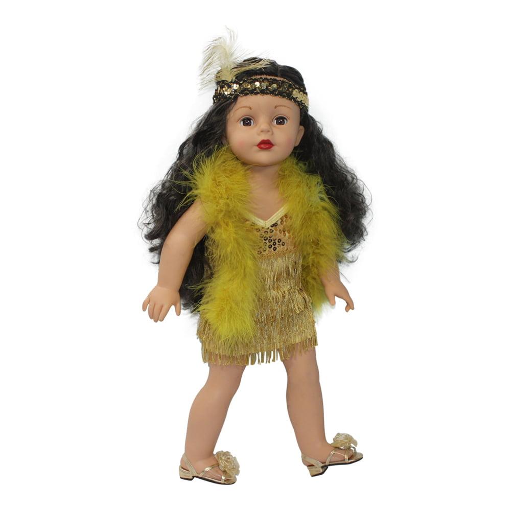 Arianna Golden Flapper Costume Fits Most 18 inch Dolls
