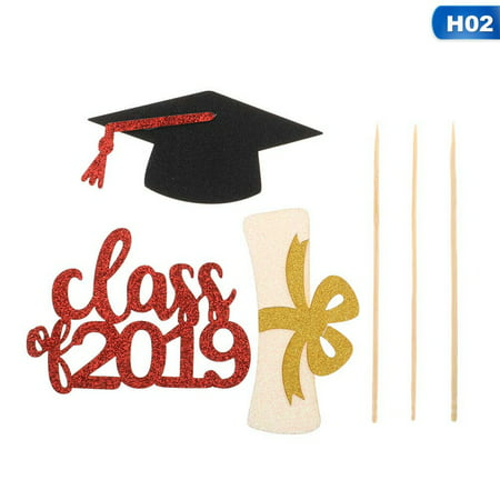 KABOER 3PC Set 2019 Graduation Bachelor Hat Dessert Cake Sticks Cupcake Topper Decors (Bachelor Cake Topper)
