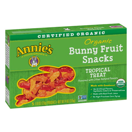 Annie's Organic Bunny Fruit Snacks Tropical Treat 5 Pouches 0.8oz Each