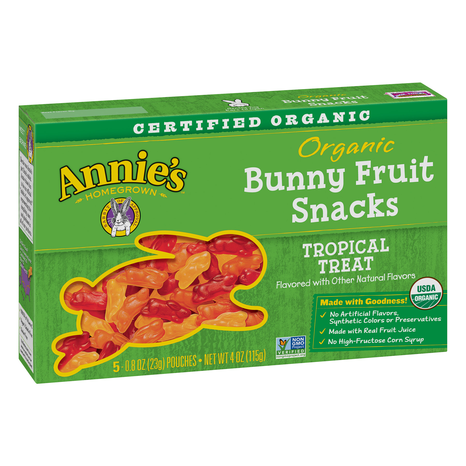(2 Pack) Annie's Organic Bunny Fruit Snacks Tropical Treat 5 Pouches 0.8oz Each